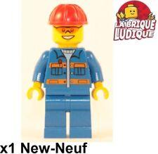 Lego Figura Minifig City Construcción Trabajador Worker Azul Casco Gafas Nueva