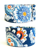 "1.5"" or 2"" Martingale Dog Collar DAISIES & PAISLEY Greyhound Whippet Lurcher"