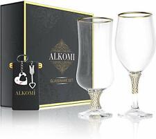 Luxury Mr & Mrs Wine Glass Set w/Bonus Keychains
