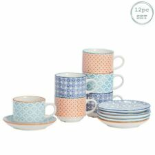Nicola Spring Patterned Porcelain Stacking Cups and Saucer Set 260ml - Set of 6
