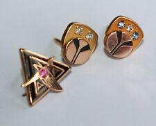 Lapel Pin Tie Tack Lot of 3 10k Gold Filled Gf Diamond, Ruby, Topaz