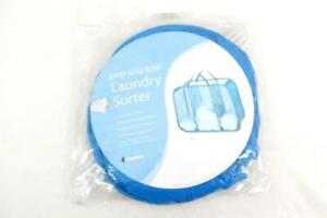 Whitmor Pop and Fold Laundry Sorter Bag Blue Mesh 3 Sections Carrying Handles