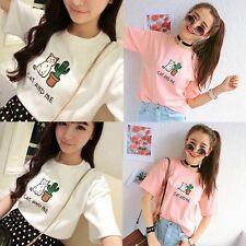Cute Cartoon Shirt Women Girl Short Sleeve Casual T-shirt Blouse Cotton Tank Top