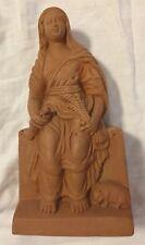 Vintage Hindu Ganges River Clay Female Figurine Decor India Hand Molded Diwali