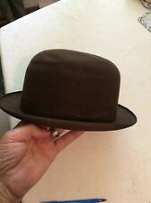 VINTAGE DOBBS FIFTH AVENUE BROWN BOWLER DERBY ROUND LIPPED HAT APPROX 7 3/8