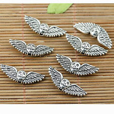 12pcs tibetan silver plated 2sided skull wing bead EF1782