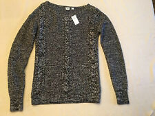NWT GAP Women's Sweater Cable Pullover Small Black White Marled Chunky Knit
