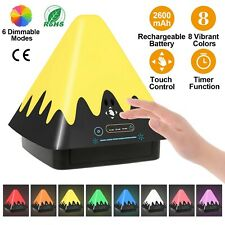 Touch Control 8-Color Changing LED Night Light Pyramid Lamp USB Plug Timer Lamp