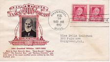 POSTAL HISTORY - CROSBY CACHET 1940 FAMOUS AMERICANS JOHN GREENLEAF WHITTIER POE