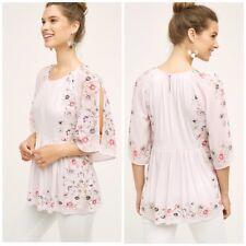 Anthropologie One September Garden Border Blouse pink floral shirt top sz Small