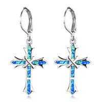 European Cross Design Blue Fire Opal Gemstone Silver Woman Dangle Hook Earrings