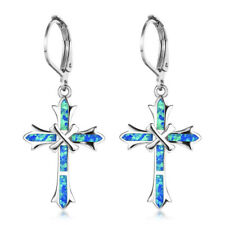 European Cross Design Blue Fire Opal Gemstone Silver Woman Dangle Hook Earrings