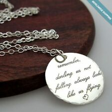 Inspirational Quote Necklace. Custom Silver Pendant - Engraved Disc, Womens Gift