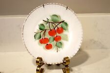 """Depression Milk Glass Petalware Red Hand Painted Cherry Plate 8"""""""