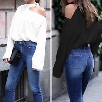 Women One Shoulder Shirt Tops Casual Choker Blouse Plus Size Jumper Ladies Tops