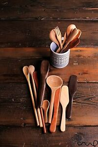 Hand-carved Wooden Spoons Forks Butter Knife Kitchen Dining Gift High Quality