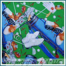 BonEful FABRIC FQ Cotton Quilt Spring Green Golf Accessories Game Glove Ball Bag