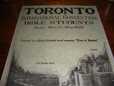 RARE 1927 Toronto International Bible Student Convention Report Watchtower 14 pg