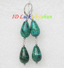 natural Dangle 12*20mm drip Chrysocolla Earring 925s hook j8400