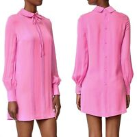 McQ Alexander McQueen Pintuck Shirt Dress IT 40, US 4 Pink Silk LIGHT FLAW
