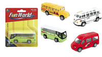 4 x Spielzeugauto Metall Spielzeugbus US Bus Spielzeugautos für Parkhaus