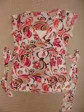 Target short sleeve layered top mock wrap tie waist floral size 14