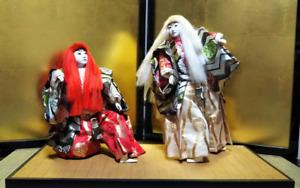 Vintage Japanese Kabuki doll on wooden base Samurai Kimono BIG Renshi