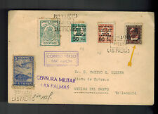 1937 Las Palmas Spain Civil War Censored Cover to Valladolid Airmail Locals