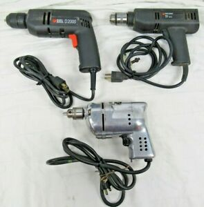 Black & Decker Lot of (3) Made in U.S.A. Electric Drills - Tested and Working!