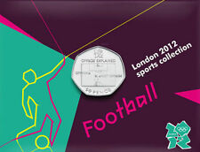 2012 50p OLYMPIC 12/29 FOOTBALL COIN ON CARD BRILLIANTLY UNCIRCULATED a