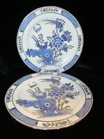 """VINTAGE HAND PAINTED CHINESE BLUE & GOLD BIRDS & FLOWERS 2 PLATES 9 7/8"""" WIDE"""