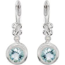 Genuine Aquamarine and White Diamond Bezel Set Leverback Silver Dangle Earrings