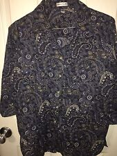 Rebecca Malone Size S Button Up Women's Shirt 3/4 Sleeve Paisley Blouse