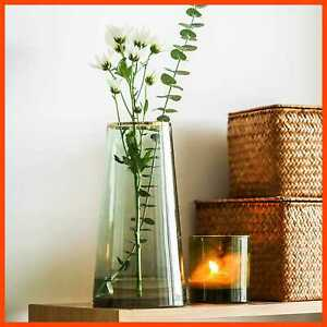 Moden Trapezoid Glass Vase W GOLD Mouth For Centerpieces Home Wedding Decoration