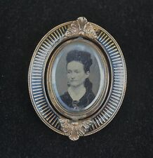 Victorian Era Double-Picture Mourning Brooch with 10k Gold & Niello Setting
