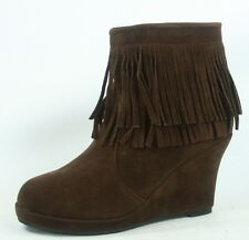 NEW Women's Fashion Zip Fringe Round Toe Wedge Ankle Booties Shoes Size 6 - 10
