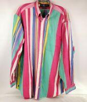 Ralph Lauren Men's Vintage The Big Oxford Long Sleeve Rainbow Shirt Size L Flaw