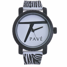 "Techno Pave Fashion Animal Zebra Printed Watches ""Large Size"" 7110 WH"