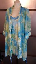 Delicates Nightie Robe Set 2 Piece 2X Watercolor Blues Greens Pajamas