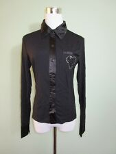 Women Fashion Party Black Casual Sexy Long Sleeve Fit Blouse Top sz 12 14 T118