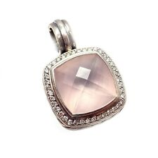 David Yurman DY Silver Large 20mm Rose Quartz Albion Diamond Pendant