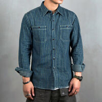 NON STOCK Wabash Striped Shirts 40s Men's Vent Hole Long Sleeve Workshirts Blue
