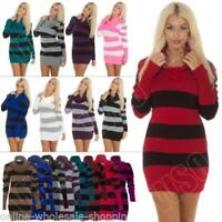 New Womens Long Cowl Neck Striped Knitted Ladies Jumper Casual Tunic Dress Top
