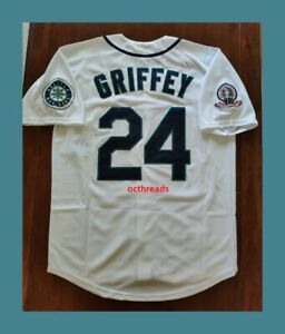 NEW KEN GRIFFEY JR. SEATTLE MARINERS RETRO STITCHED THROWBACK JERSEY M L XL