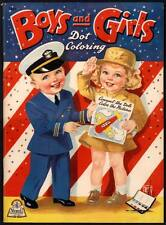 """UNCOLORED """"Boys and Girls Dot Coloring"""" #3421 Merrill 1943 (4180)"""