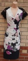PHASE EIGHT WHITE PINK FLORAL CROCHET LACE RUCHED BODYCON PENCIL GREY DRESS 10 S