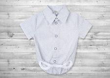 Baby Boy White Smart Shirt Formal Bodysuit Body Shirt Summer Short Sleeve 0-24m