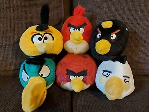 """Angry Birds Plush Toys Stuffed Animals 5"""" Lot Of 6 Red Green Bomb Terence Orange"""