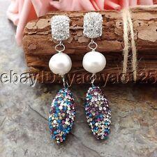 K062914 White keshi Pearl Multi Color Crystal Earrings