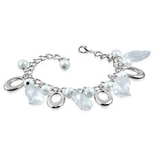 White Clear Pearl Glass Leaf Bead Oval Charm Bracelet nickel free jewellery